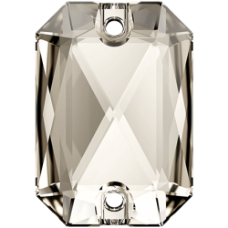 Emerald Cut Sew-on Stone Crystal Silver Shade
